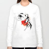 crane Long Sleeve T-shirts featuring CRANE INKTOBER by Rubis Firenos