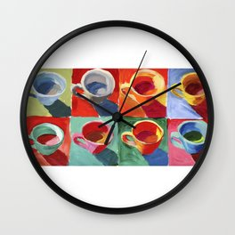 Teapots colorful still-life painting.  Art for kitchen teapot style painting multicolored Wall Clock