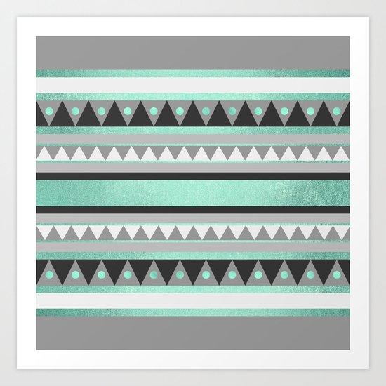 Turquoise Tribal Art Print