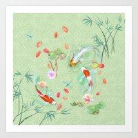 Watergarden with koi - green Art Print