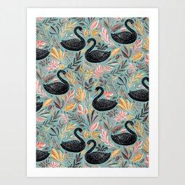 Bonny Black Swans with Autumn Leaves on Sage Art Print