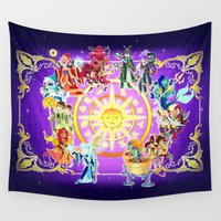 zodiac Wall Tapestries featuring The Zodiac by Eileen Marie Art