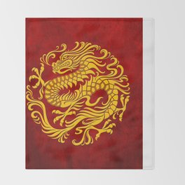 Traditional Yellow and Red Chinese Dragon Circle Throw Blanket