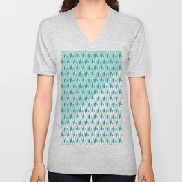 Artistic green teal hand painted bohemian arrows Unisex V-Neck