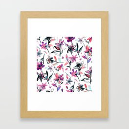 Ink flowers pattern - Viola Framed Art Print
