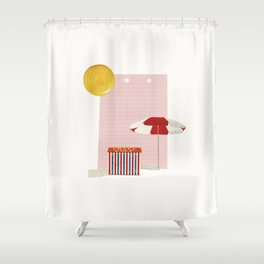 on holiday Shower Curtain