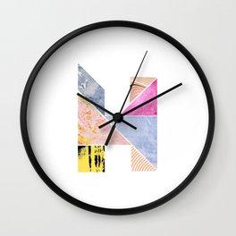 Collaged Tangram Alphabet - H Wall Clock