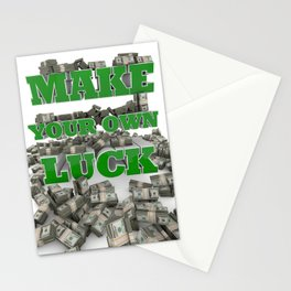 Make your own luck - Success - Motivation - Money Stationery Cards