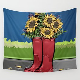 Red Rainboots & Sunflowers Wall Tapestry