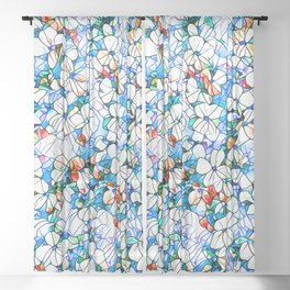 Glass stain mosaic 7 - flower, by Brian Vegas Sheer Curtain