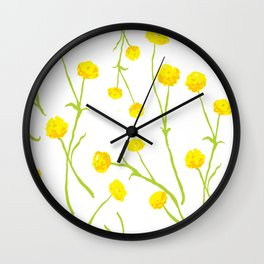 Summer Flower Pattern in Yellow and Green Wall Clock