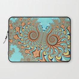 Owl Fractal Turquoise and Orange Laptop Sleeve