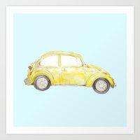 VW Bug: Watercolor vintage car Art Print