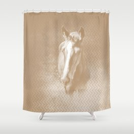 Horse emerging from the mist in iced coffee beige Shower Curtain
