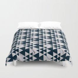 Southwestern Triangle Design over White Grey Marble Duvet Cover
