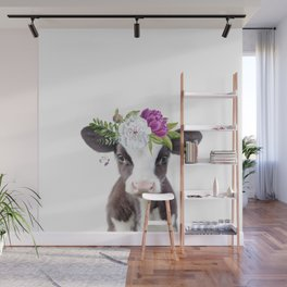 Baby Cow with Flower Crown Wall Mural