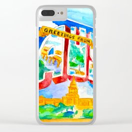 Greetings From Austin Mural watercolor Clear iPhone Case
