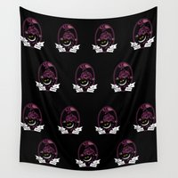 cheshire cat Wall Tapestries featuring Cheshire Cat by trevacristina