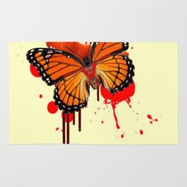 BLOODY BLEEDING ORANGE MONARCH BUTTERFLY Rug
