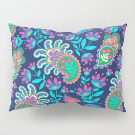 Pretty Bohemian Paisley Navy Green Turquoise and Pink Pillow Sham