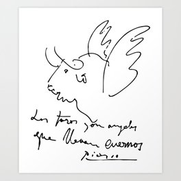 Pablo Picasso Bulls Quote (Angels with horns) Artwork Shirt, Reproduction Art Print