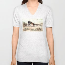 A-7 Corsair jet attack airplane in low level flight Unisex V-Neck