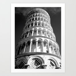 Leaning Tower of Pisa black and white Art Print