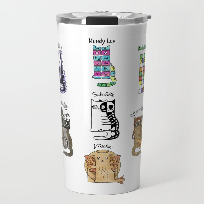 Science cats. History of great discoveries. Schrödinger cat, Einstein. Physics, chemistry etc Travel Mug