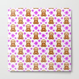Funny cute little meditating relaxed chilling zen sloths and pretty pink spring flowers white seamless pattern design. Gifts for sloth and nature lovers. Nursery ideas. Metal Print