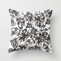 orchid Throw Pillows featuring orchid by GYYO