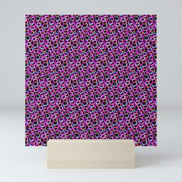 Fun Pattern: Hoops And Loops In Living Coral, Magenta And Cyan Mini Art Print
