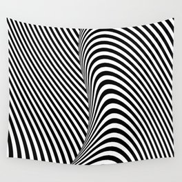 Black and White Pop Art Optical Illusion Lines Wall Tapestry