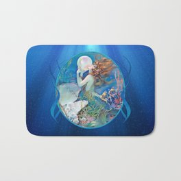 Sensual Art Deco Pearl Mermaid Bath Mat