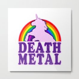 Funny Death Metal Unicorn Rainbow T-Shirt Metal Print