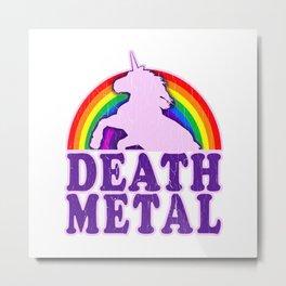 Funny Death Metal Unicorn Rainbow T-Shirt Metal Print
