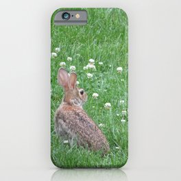 Rabbit eating clover iPhone Case