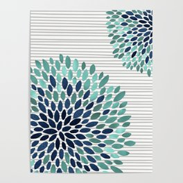 Blooms and Stripes, Aqua and Navy Poster