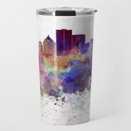 Rochester NY skyline in watercolor background Travel Mug