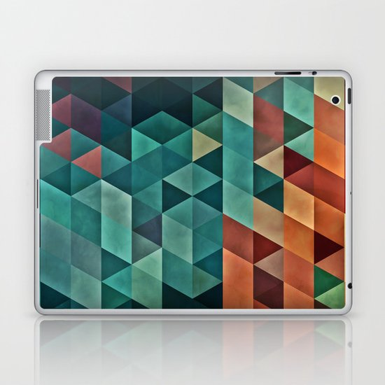 Teal/Orange Triangles Laptop & iPad Skin