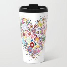 Heart of flowers and butterflies Travel Mug