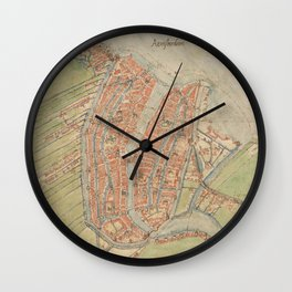Vintage map of Amsterdam (1560) Wall Clock