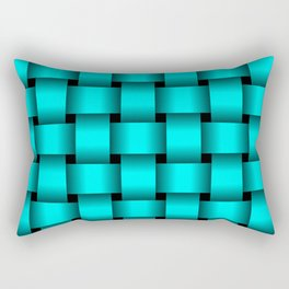 Large Cyan Weave Rectangular Pillow
