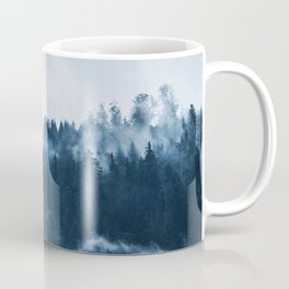 Pine forest foggy rainy day boreal pines trees landscape photo Coffee Mug