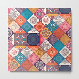Boho Quilt Pattern Metal Print