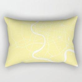 Bangkok Thailand Minimal Street Map - Pastel Yellow and White II Rectangular Pillow