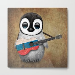 Baby Penguin Playing Russian Flag Guitar Metal Print