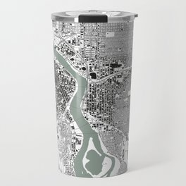 Portland, OR City Map Black/White Travel Mug