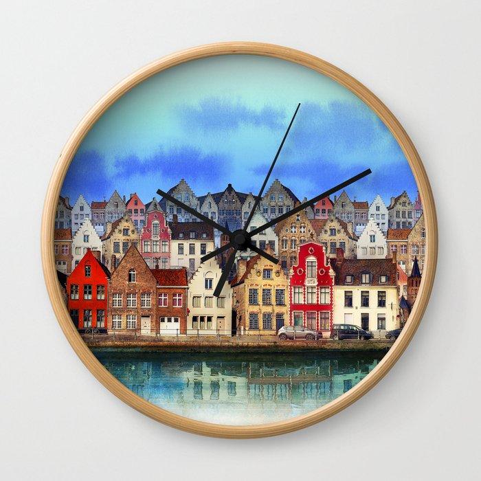 House, Bruges, Belgium Wall Clock