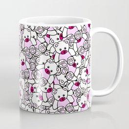 Cute Adorable Pink White Black Teddy Bear Collage Coffee Mug