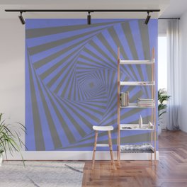 Periwinkle Blue Psychedelic Grunge Stripes Wall Mural